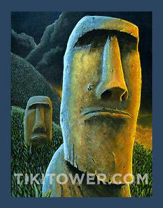 Easter-Island-Rapa-Nui-Moai-Polynesian-Lowbrow-Man-Cave-Art-Print-Tiki-Bar-Decor