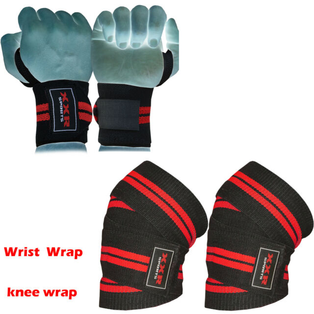 Power Weight Lifting Wrist Wraps and Weight Lifting Knee Wraps Lifter Supports