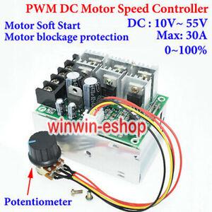 DC 10-55V  PWM 12V 24V 48V 30A DC Motor Speed Controller Motor Soft Start Switch