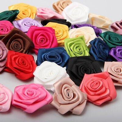 100x 40mm Satin Ribbon Rose Flower Appliques Wedding Craft Sew DIY Mix 18 Colors