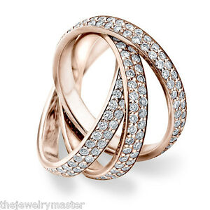 Image Is Loading DIAMOND ROLLING ETERNITY BAND WEDDING RING ROSE GOLD