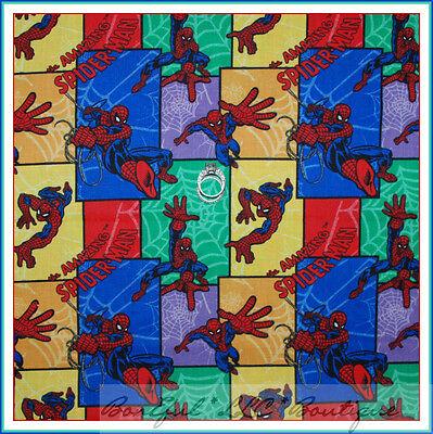 BonEful Fabric FQ Cotton Quilt VTG Spiderman Comic Rainbow Marvel Super Hero Boy