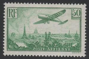 FRANCE-STAMP-YVERT-AVION-14-SCOTT-C14-034-PLANE-OVER-PARIS-50F-GREEN-1936-034-MNH-VF