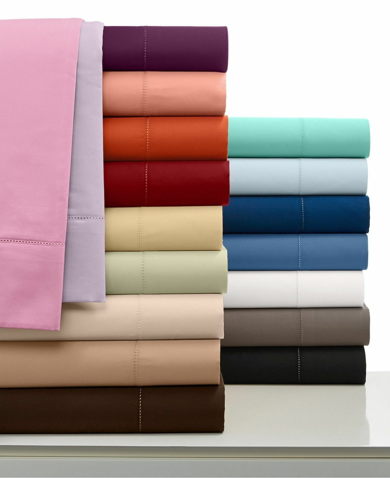 Twin Size 1000 TC Egyptian Cotton 4 PC Bed Sheet Set All Solid&Stripe colors