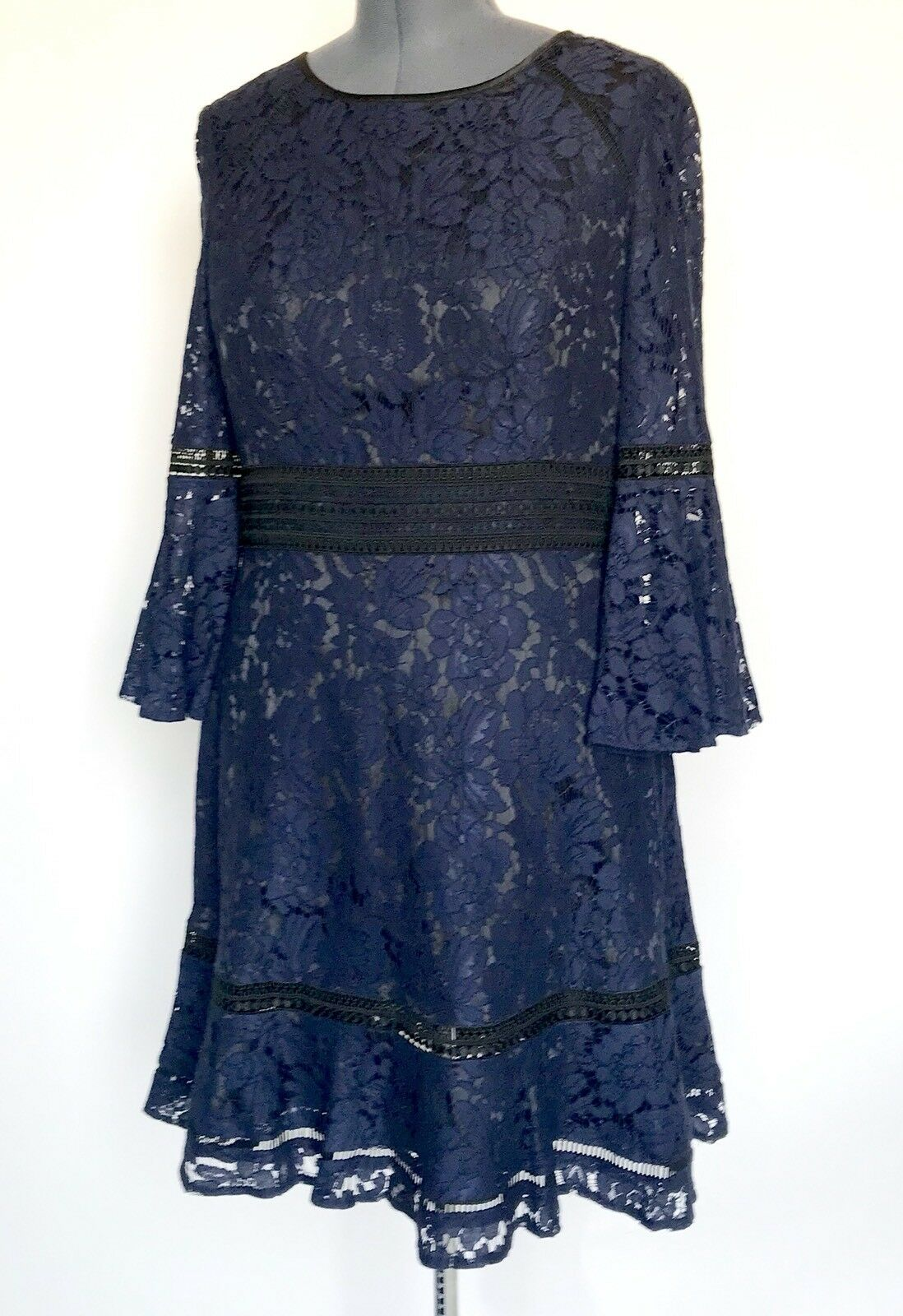 Eliza J Navy bluee  Lace Dress Crochet Detail NWT Retails  Price  Size 14