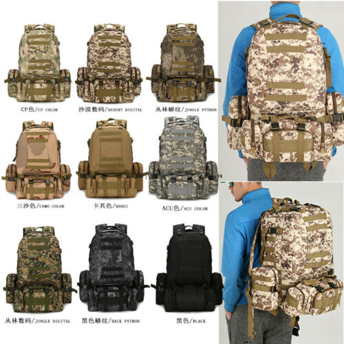 Large Capacity 55L Molle Outdoor Military Tactical Bag Camping Hiking Backpack U