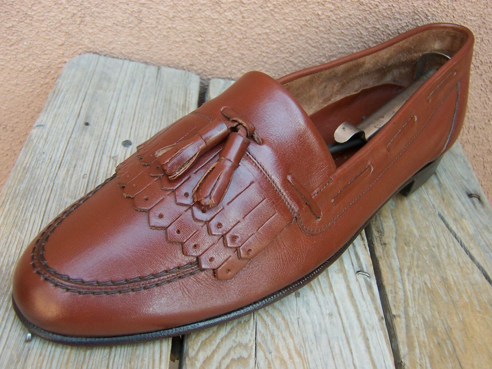 BALLY SWITZERLAND Mens Dress shoes Soft Cognac Leather Tassel Loafers Size 10.5N