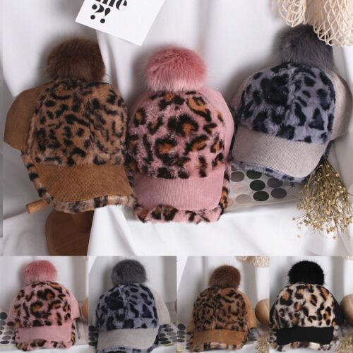 Fashion Toddler Kids Girl/&Boy Baby Winter Warm Leopard Print Hat Baseball Cap