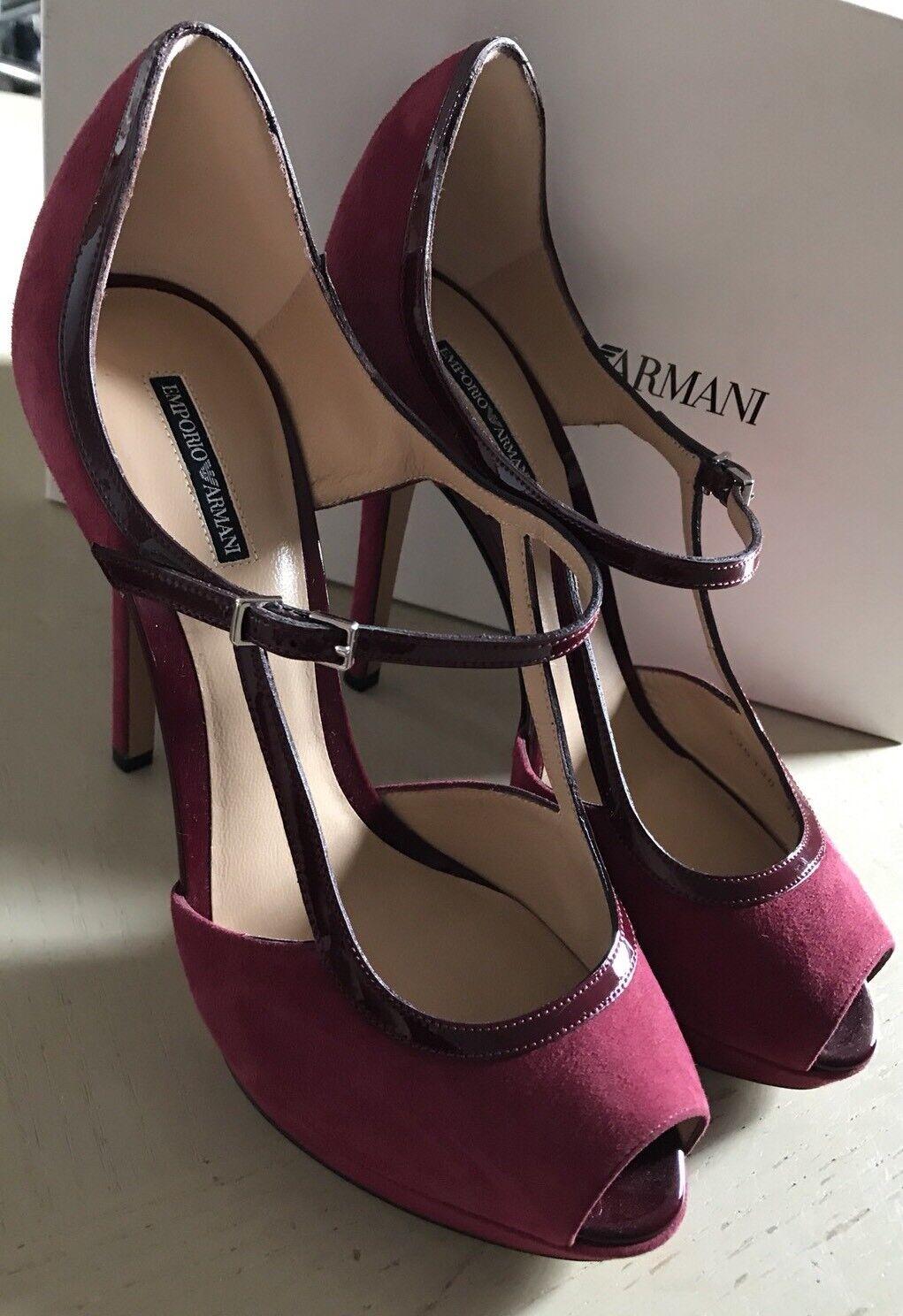 NIB $695 Emporio Armani Women's Sandal Shoes Red/Burgundy 8 US ( 38 Eu ) X3G130