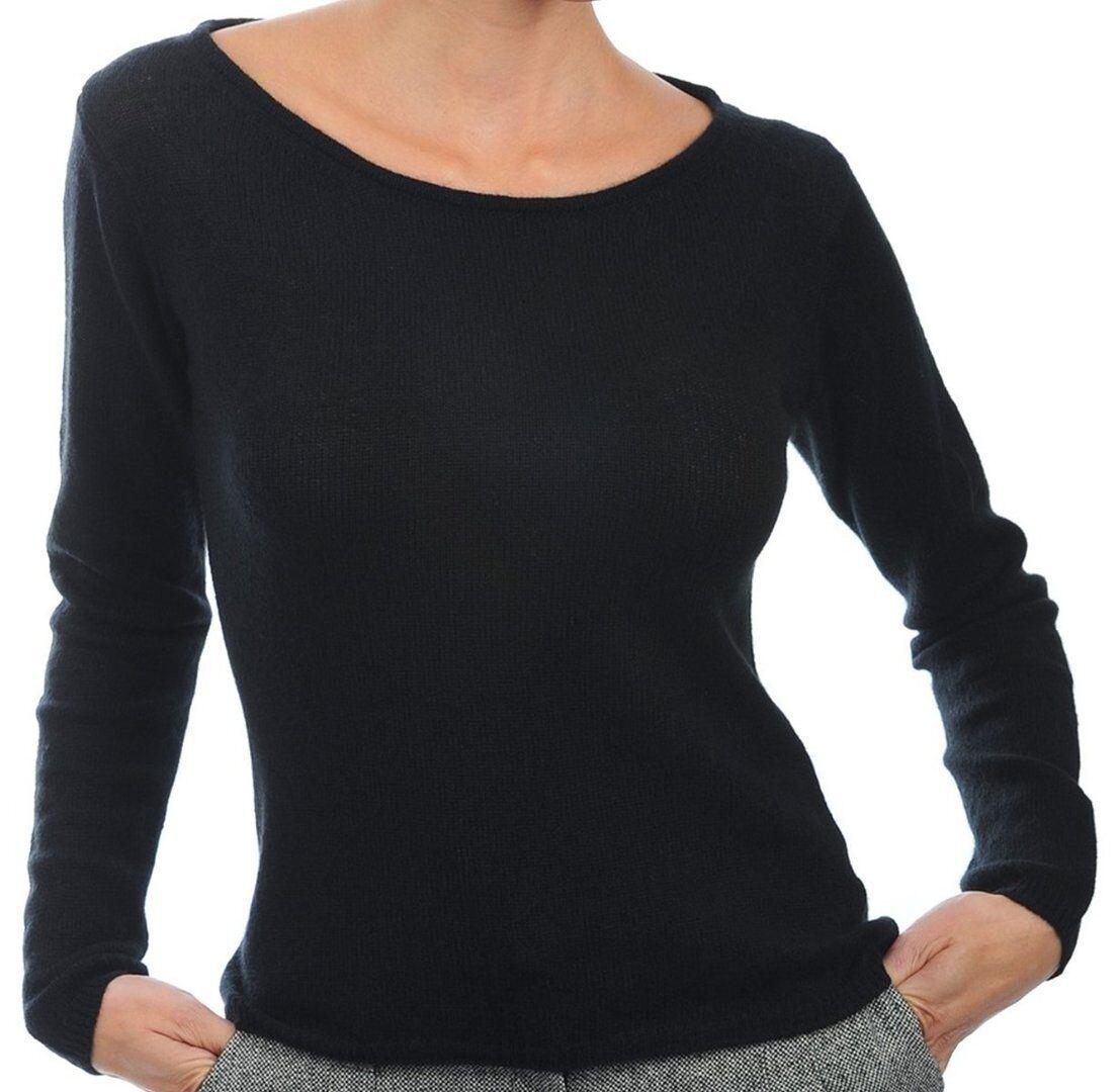 Balldiri 100% Cashmere Damen Pullover Rundhals 2-fädig schwarz L