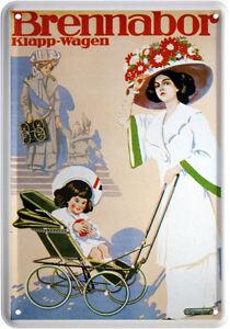 Blechpostkarte Brennabor Kinderwagen Klappwagen Kombiwage Nostalgie Reklame #