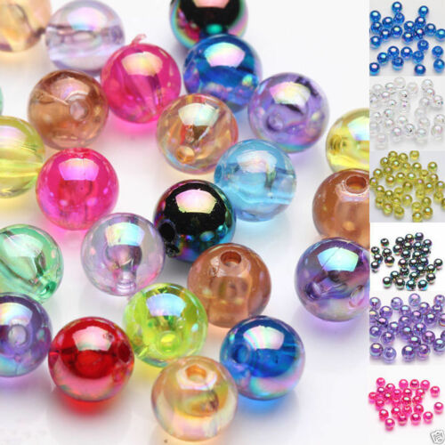 100Pcs Plated AB Acrylic Round Spacer Loose Beads For Jewelry Makings Crafts 8MM