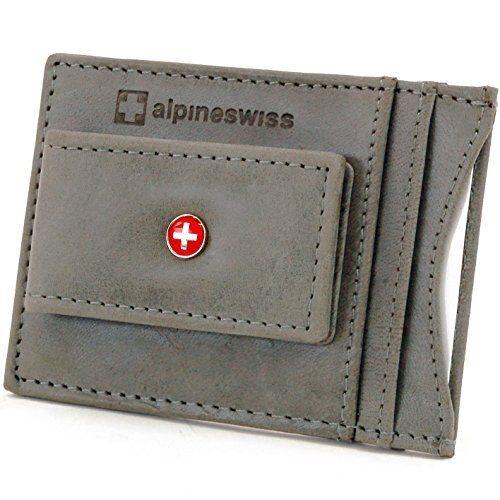 AlpineSwiss Mens Leather Money Clip Magnet Front Pocket