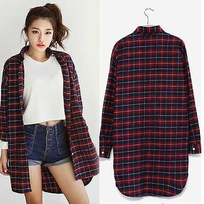 Korean Check&Plaid Printed Button Down Lapel Loose Cardigan Top Blouse T Shirt