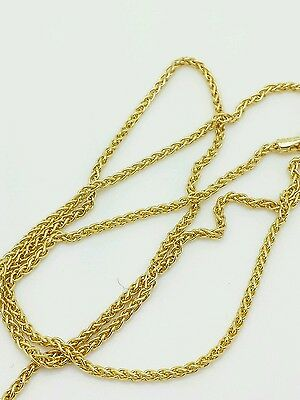 "14k Yellow Gold Round Wheat Necklace Pendant Chain 22/"" 1.5mm"