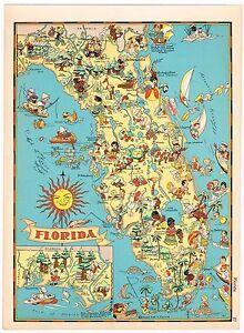 Ruth Taylor Vintage Florida Mapa De Dibujos Animados Raro Original - Mapa florida