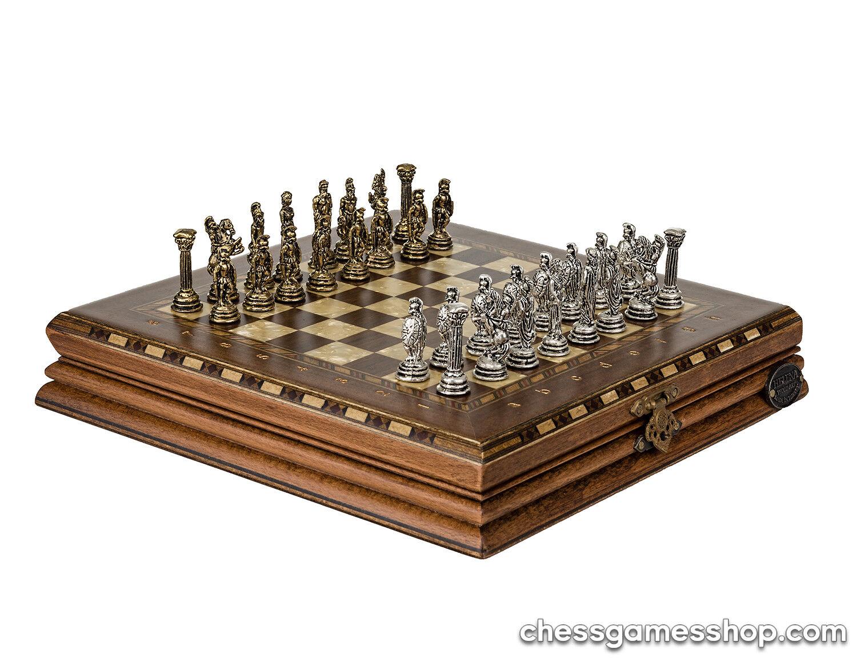Luxury handmade chess set-Brass chessmen walnut mosaic chess board - GIFT iTEM