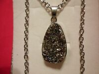Gray Drusy Agate Pendant In Silvertone W/stainless Steel Chain - 24 Inches
