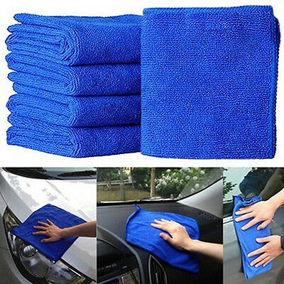 5X Fabulous Great Blue Wash Cloth Car Auto Care Microfiber Cleaning Towels HCUK