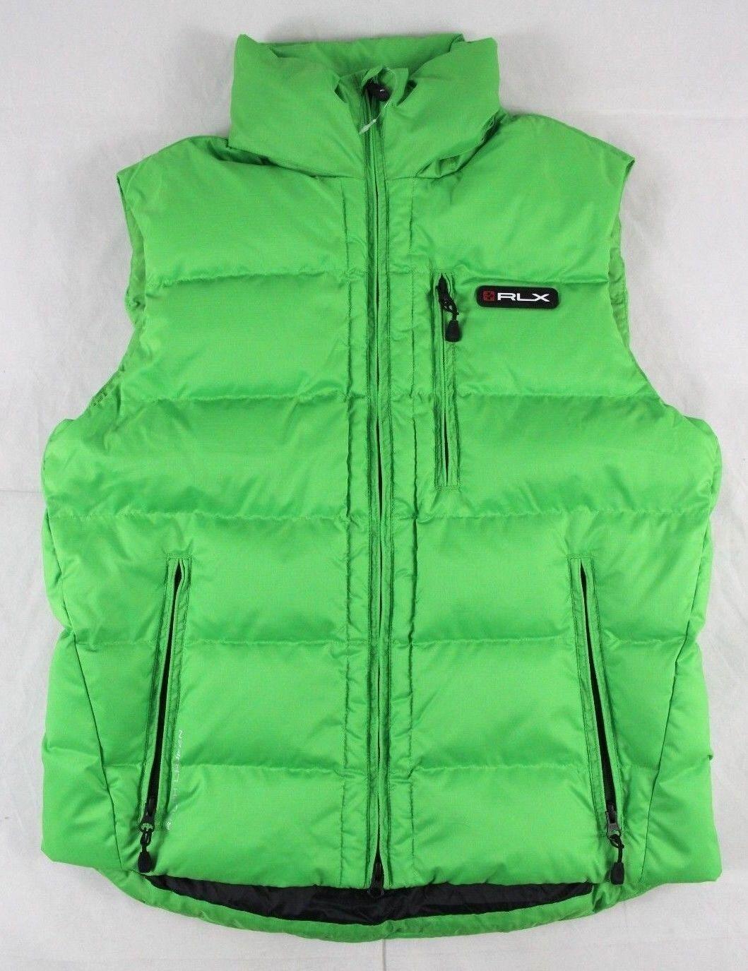 Ralph Lauren RLX Green Full Zip Nylon Lined Down Filled Vest Size S BNWT
