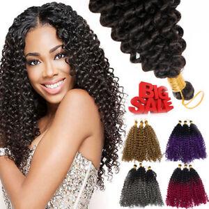 Natural Water Wave Crochet Braids Long Deep Curly 10 Human Hair Extensions Us H Ebay