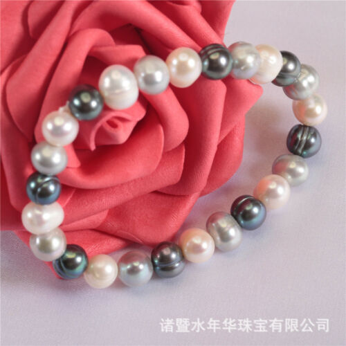 Fashion Elegant classique élastique Off Round Real Natural Freshwater Pearl Bracelet