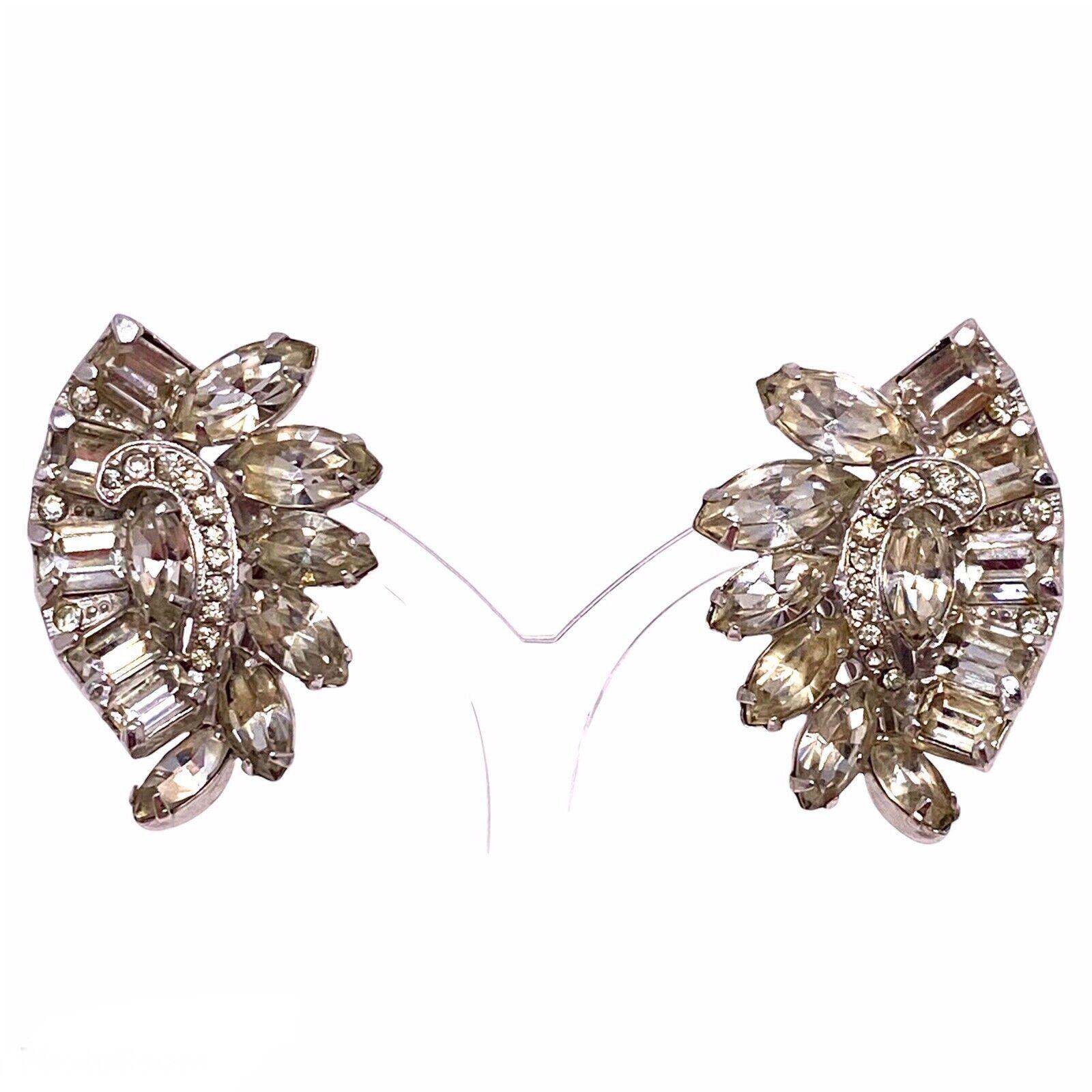 Vtg Eisenberg Rhinestone Cluster Clip Earrings - image 1