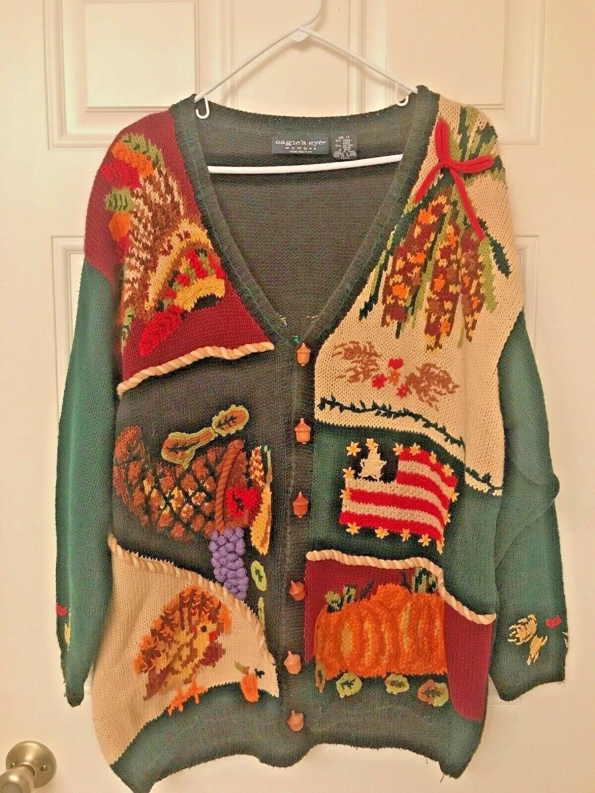 Eagle's Eye bildigan tröja Embellide Fall Acorn Tema Storlek 1X årgång 1996