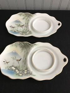 Image is loading Set-Of-2-Oriental-Hand-Painted-Snack-Plates- & Set Of 2 Oriental Hand Painted Snack Plates w/cup Holder 8 1/4