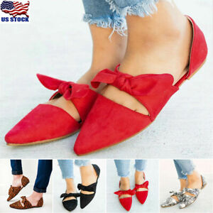 Details about US Women Summer Pointed Toe Ballet Flat Bow Tie Slip On Sandals Dress Shoes Size