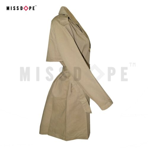 NEW KHAKI COTTON MAC TRENCH WOMENS COAT DOUBLE BREASTED BELTED JACKET OFFICE UK