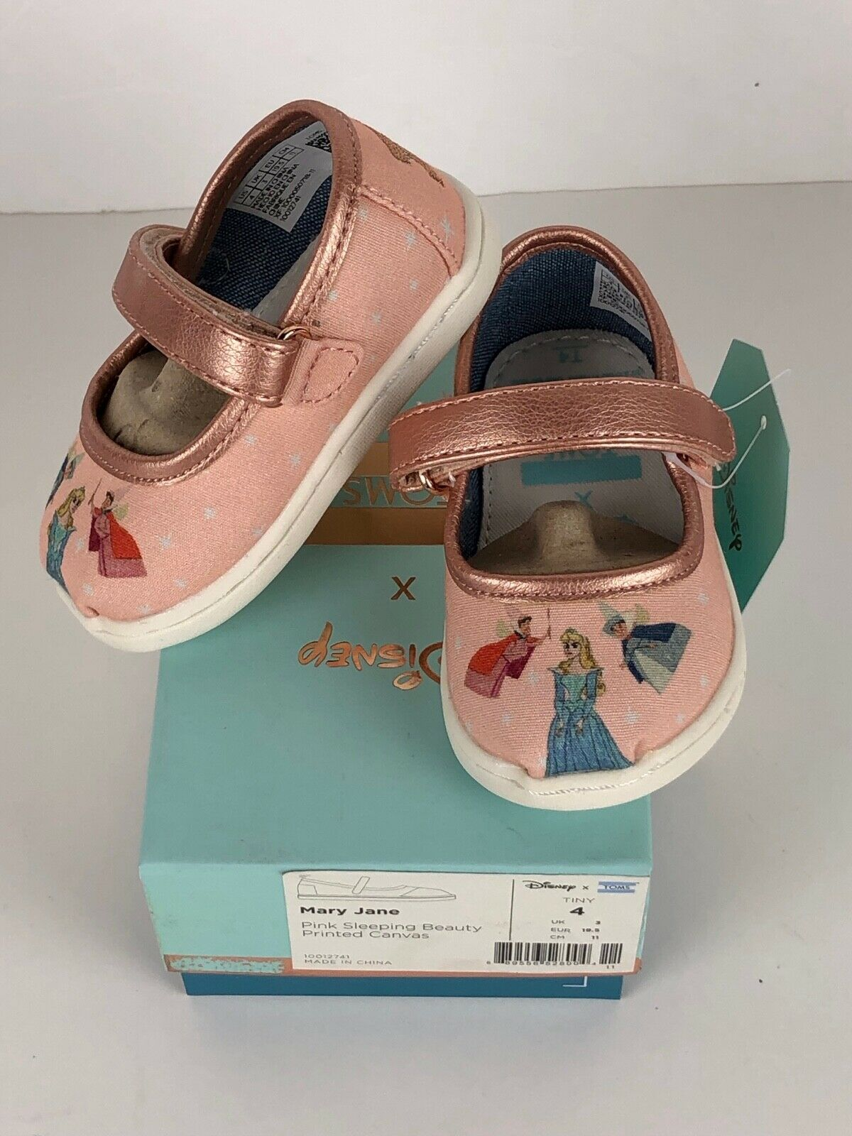 df68b5b24e0 Toms Tiny Mary Jane Pink Sleeping Beauty Printed Canvas 10012741 ...