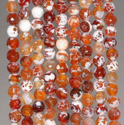 """6MM  AGATE GEMSTONE GREY FACETED ROUND LOOSE BEADS 14.5/"""""""