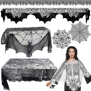 Nappe-Halloween-Toile-D-039-araignee-Table-Fenetre-Tissu-Decor-Rideau-Fete-Ornement