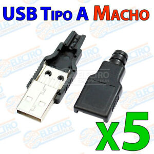 5x-USB-Tipo-A-MACHO-para-cable-4-pin-conector-carcasa-de-plastico-soldar-aereo