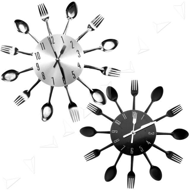Modern Design Sliver/Black Cutlery Kitchen Wall Clock Spoon Fork Clock New
