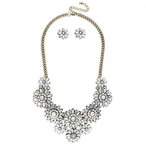 NEW Gorgeous AB Aurora Borealis /& Clear Crystal Floral Statement Necklace Set