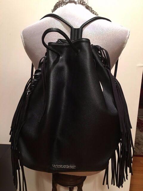 New Victoria Secret Black Backpack Fringe Shoulder Handbag Bag Faux Leather