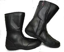 LV11 Motorcycle Black Leather Water Resistant Motorbike Winter Racing Boots