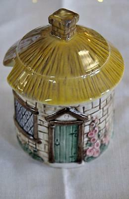 VINTAGE SYLVA C VERY ENGLISH THATCHED COTTAGE JAM,CREAM OR HONEY POT