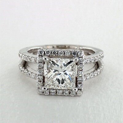 D/vvs 2.70 Ct Diamond Solid 14k White Gold Engagement Rings Size N M I J K Sale Other Fine Rings