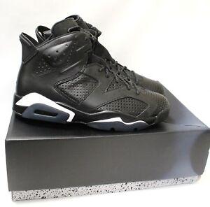 Men s Nike AIR JORDAN 6 Black Cat Leather High Top Trainers Size UK ... 368f02b5a55f