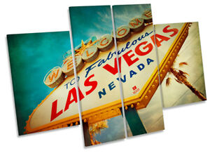 Las Vegas Welcome Sign Picture CANVAS WALL ART Four Panel