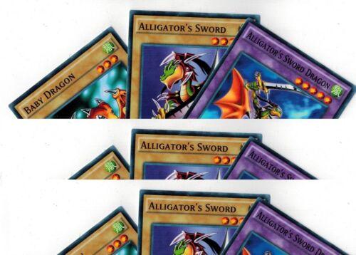 9-Cards 3 Sets of Alligator/'s Sword Dragon Fusion/_Baby Dragon 1st YUGIOH LDK2