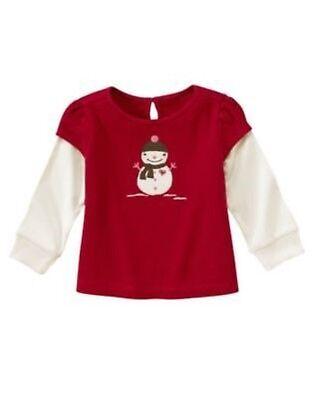 New GYMBOREE Girls Shirt ALPINE SWEETIE Size 18 24 months SNOWMAN Cotton Top Red