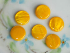 #226 Vintage Beads Glass Lentil Retro Yellow NOS Flat Disc Round13mm Saucer Bead