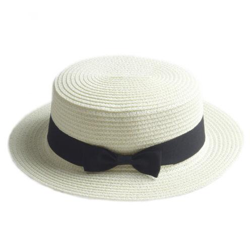 Femmes Hommes Enfant Enfants Garçon Fille boater hat paille Sailor Cap sunhat Fedora Trilby