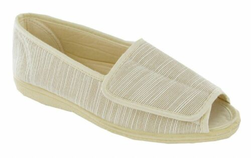 MIRAK Quimper beige ladies wide-fit open toe canvas shoe size 3-8