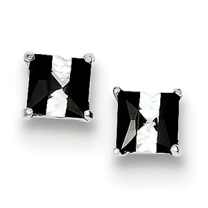 925-Sterling-Silver-Polished-Black-And-White-Colored-CZ-5mm-Square-Post-Earrings