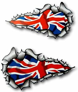 LONG Handed Pair Ripped Open Torn Metal British Union Jack Flag car sticker